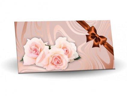 Mléčná čokoláda s mandlemi a malinami 175g motiv Růže (Bronzová mašle)