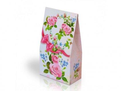 Italské pralinky motiv Květy s růžovou mašlí 100g