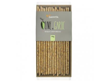 Danvita Pšeničný křehký chléb s olivami a česnekem 130g