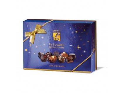 Emoti La Flambee Výběr pralinek z hořké čokolády v modrém obalu 120g