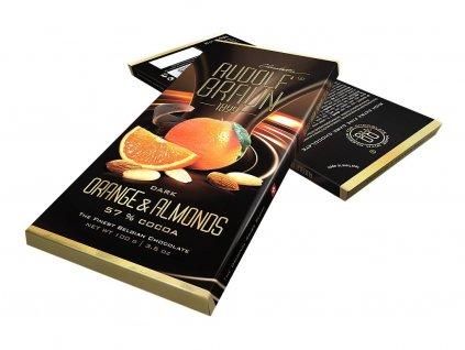Rudolf Braun Belgická hořká čokoláda s pomerančem a mandlemi 57% kakaa 100g