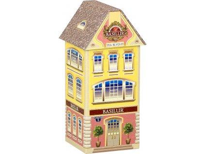 Basilur House Boulevard 3 plech Černý sypaný čaj v plechovém domečku75g