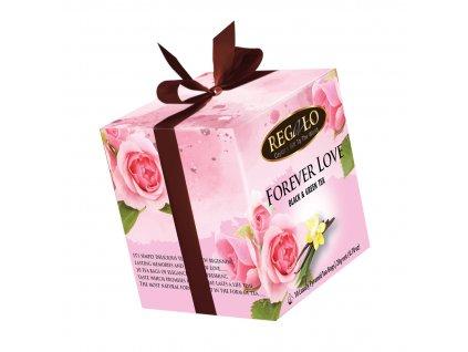 Regalo Forever Love Černý a zelený čaj s růží a vanilkou 10x2g