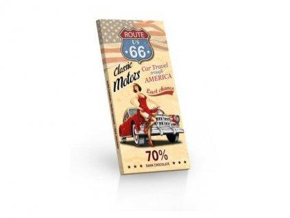 Route 66 červené auto hořká čokoláda 70% 100g