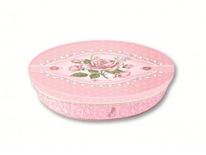 Pralinky z mléčné čokolády v plechové dóze motiv růže s krajkou 125g