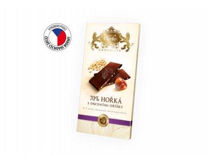Carla hořká čokoláda 70% s lískovými ořechy 80 g