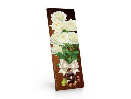 Mléčná čokoláda s kousky lískových ořechů 250g bílá růže