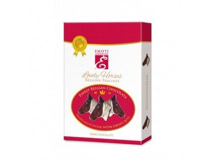 Belgické pralinky Lovely Horses z hořké čokolády s lískooříškovou náplní 95g