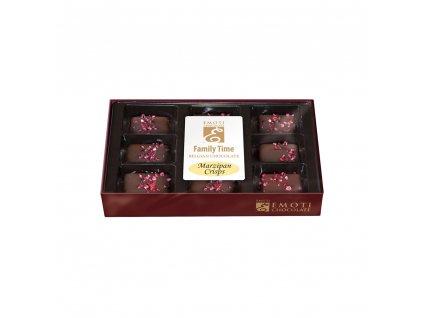 EMOTI Belgické pralinky z hořké čokolády s marcipánovou naplní s malinovou chutí Family Time 115g