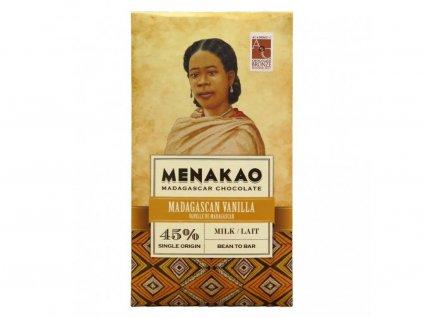 Menakao Mléčná čokoláda 45% s madagaskarskou vanilkou 75g