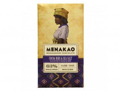 Hořká čokoláda 63% s kakaovými boby a mořskou solí Menakao 75g