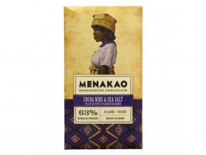 Menakao Hořká čokoláda 63% s kakaovými boby a mořskou solí 75g
