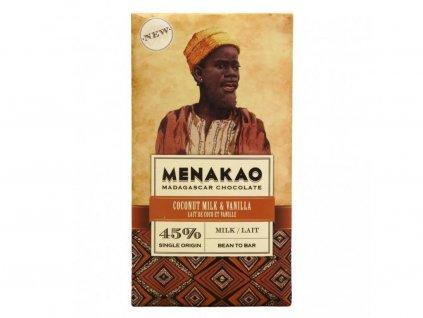 Menakao Mléčná čokoláda 45% s kokosovým mlékem a madagaskarskou vanilkou 75g
