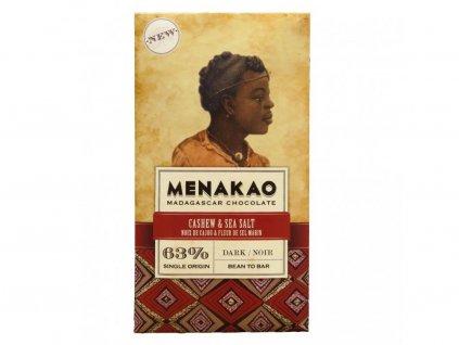 Hořká čokoláda 63% s kešu ořechy a mořskou solí Menakao 75g
