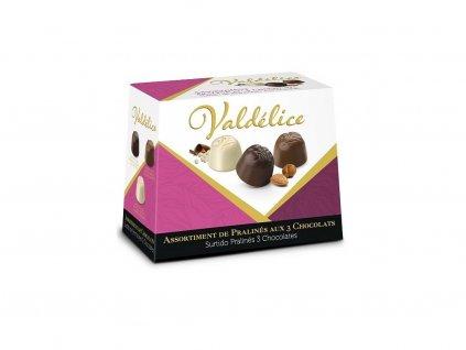 Valdélice Směs čokoládových pralinek mléčná,bílá hořká 150g
