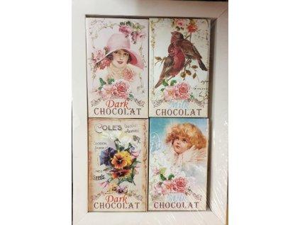 Masha Čokoládky motiv ptáček,andílek,kytička 4ks