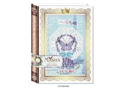 Masha Lískooříškové pralinky bonboniéra kniha Lavender 400g