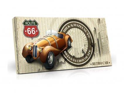 Belgická mléčná čokoláda s lískovými ořechy Retro cars - žluté auto 400 g