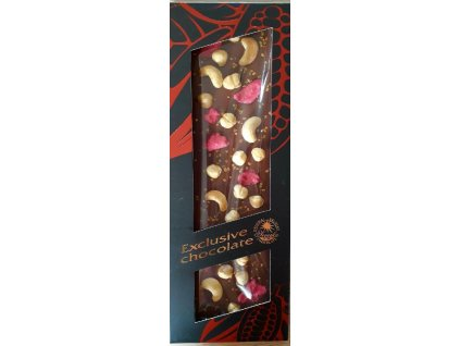 Mléčná čokoláda s kešu oříšky, lískovými oříšky, růžemi a zlatými krystalky 130g