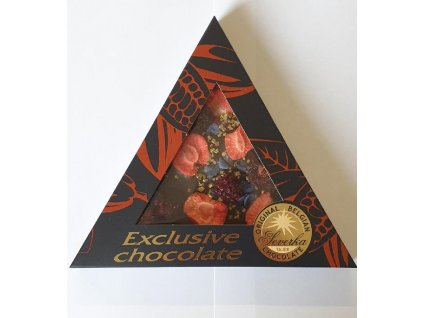 Severka Mléčná čokoláda s ostružinami, jahodami,fialkami a zlatými krystalky 50g