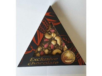 Severka Mléčná čokoláda s kešu oříšky,lískovými oříšky, růžemi a zlatými krystalky 50g