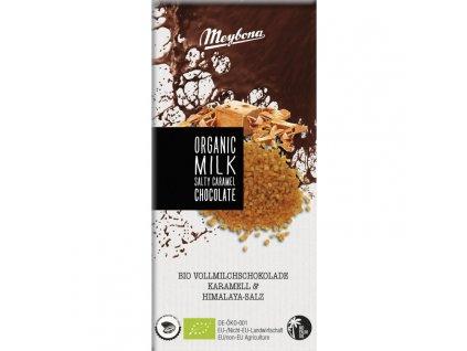 Meybona BIO mléčná čokoláda s kousky karamelu s himalájskou solí 100g