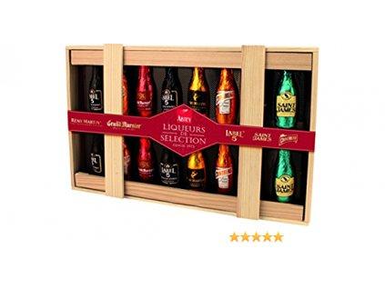 Abtey Wood Box Dřevěná kazeta plněná likérovými lahvičkami 205g