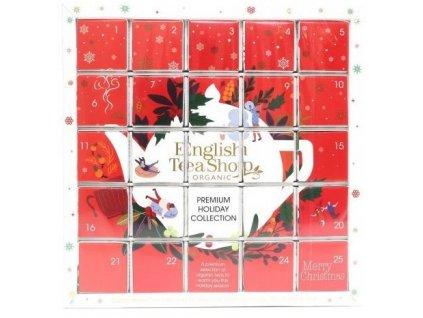 """Červený adventní čajový kalendář """"Puzzle"""", 25 pyramidek English Tea Shop"""