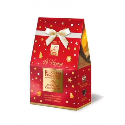 Emoti de chocolat Emoti Le Voyage Dárkové balení pralinek Červená vánoční stříška 75g
