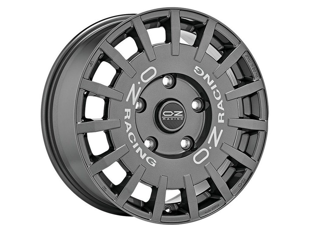 OZ RALLY RACING 18x8 5x120 ET45 DARK GRAPHITE SILVER LETTERING