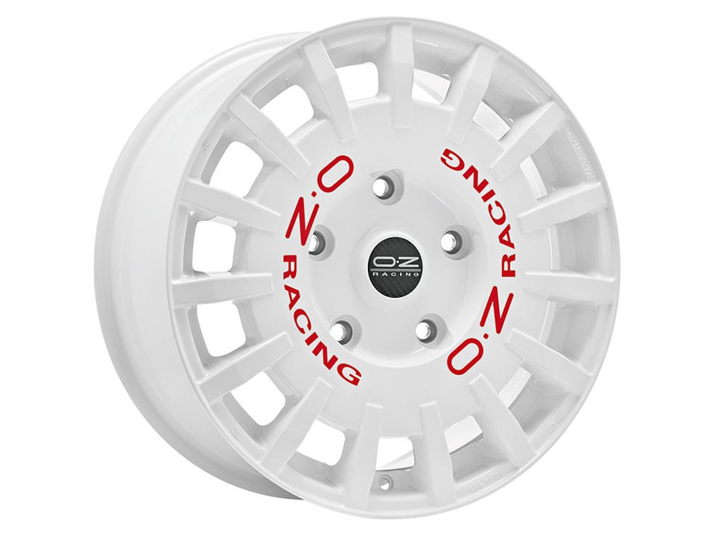 OZ RALLY RACING 17x7 4x108 ET18 RACE WHITE RED LETTERING