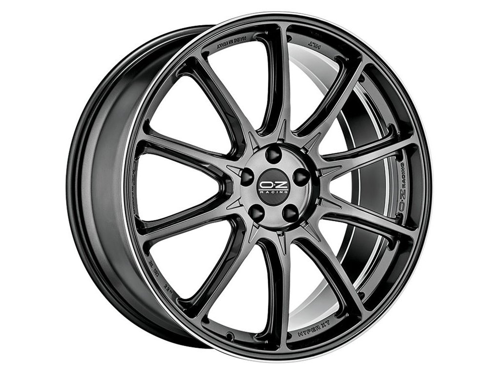 OZ HYPER XT HLT 20x9 5x112 ET52 STAR GRAPHITE DIAMOND LIP