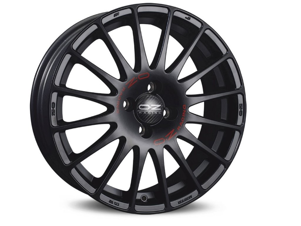 OZ SUPERTURISMO GT 17x7 4x108 ET25 MATT BLACK RED LETTERING