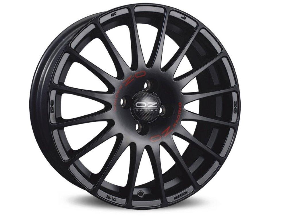OZ SUPERTURISMO GT 18x7 4x108 ET20 MATT BLACK RED LETTERING