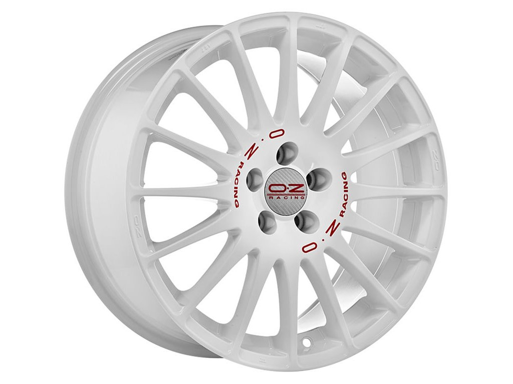 OZ SUPERTURISMO WRC 18x7 4x100 ET35 RACE WHITE RED LETTERING