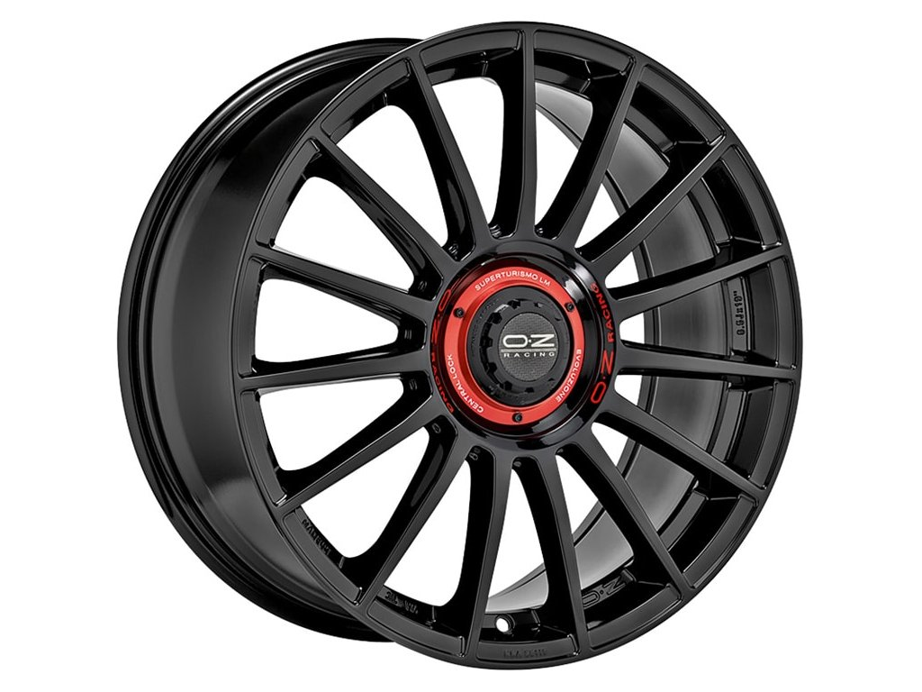OZ SUPERTUR EVOLUZIONE 18x8 5x112 ET35 GLOSS BLACK + RED LETTERING