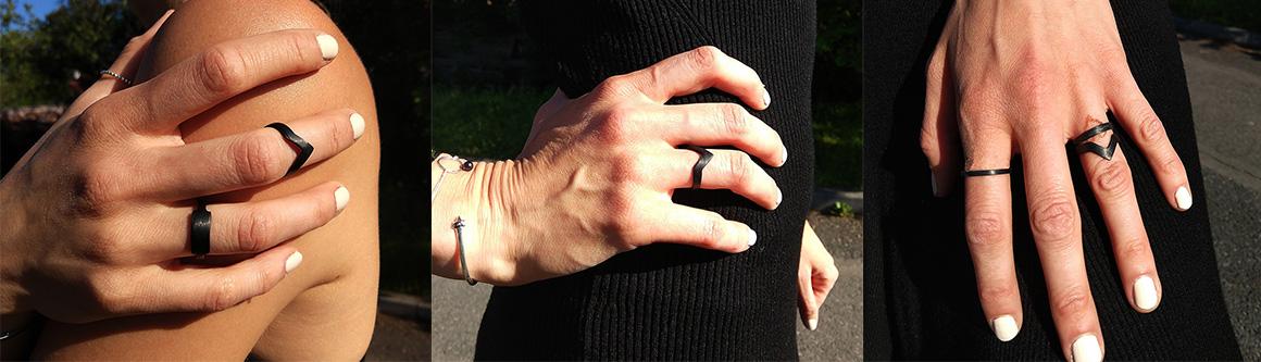 Black carbon fiber ring Ringblack triangle