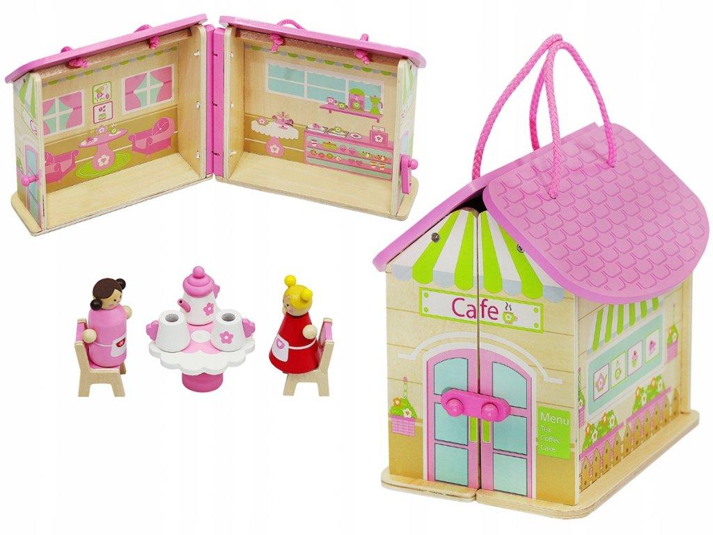 Dřevěný přenosný domeček pro panenky
