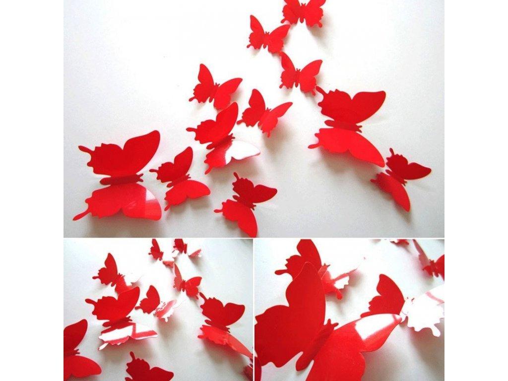 3D motýlci na zeď - červená