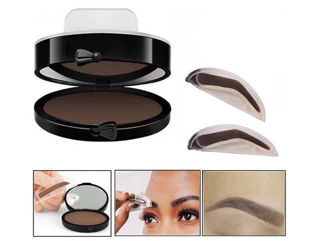 Make-up razítko na obočí se zrcátkem 2v1 hnědé