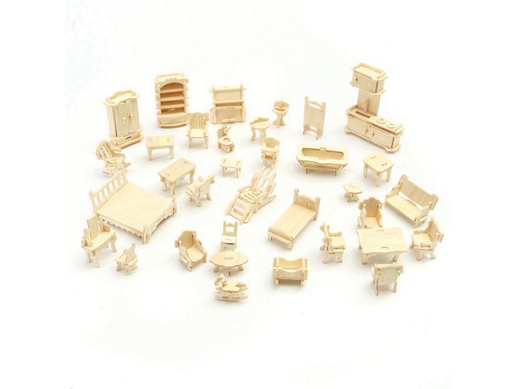 3D puzzle nábytek pro panenky 34 ks