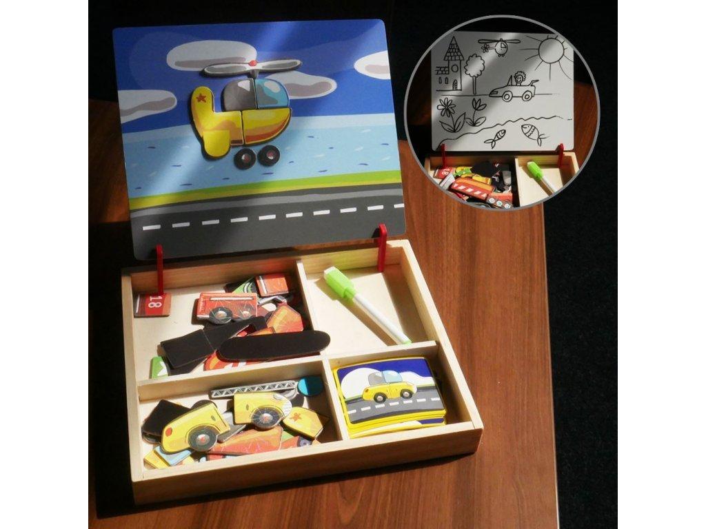 Dřevěná magnetická tabulka deluxe - Dopravní prostředky