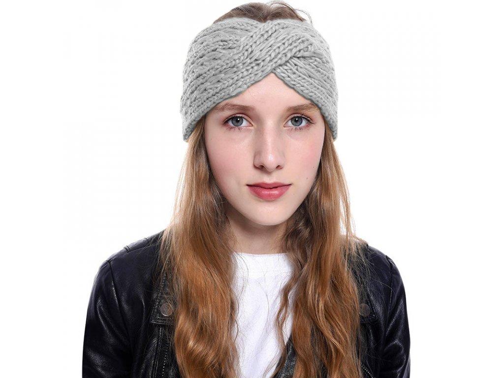 Pletená čelenka - šedá