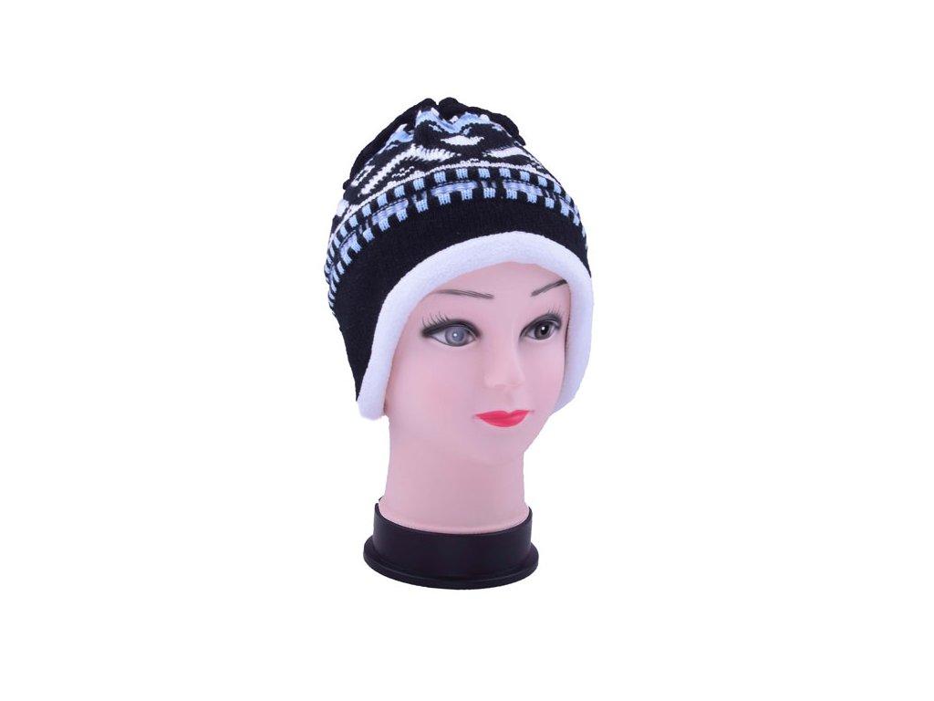 Dětská zimní čepice s třásněmi černá
