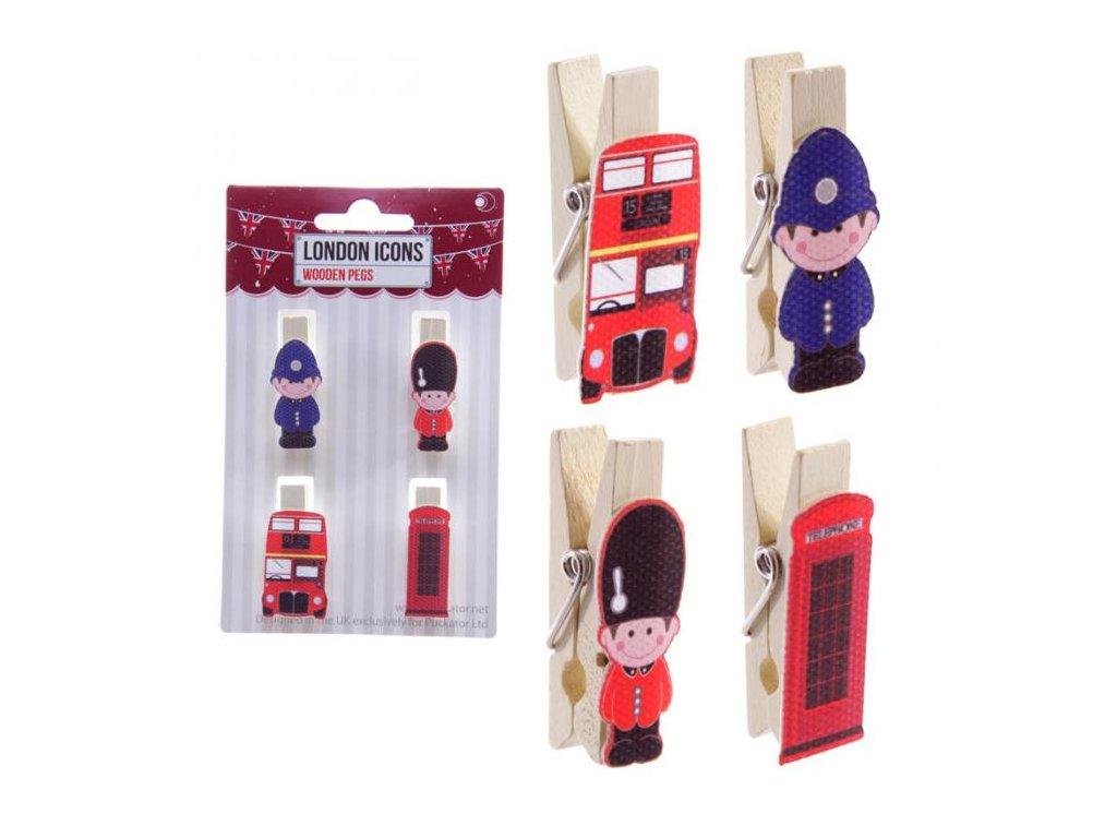 Dekorativní kolíčky LONDON 4 ks