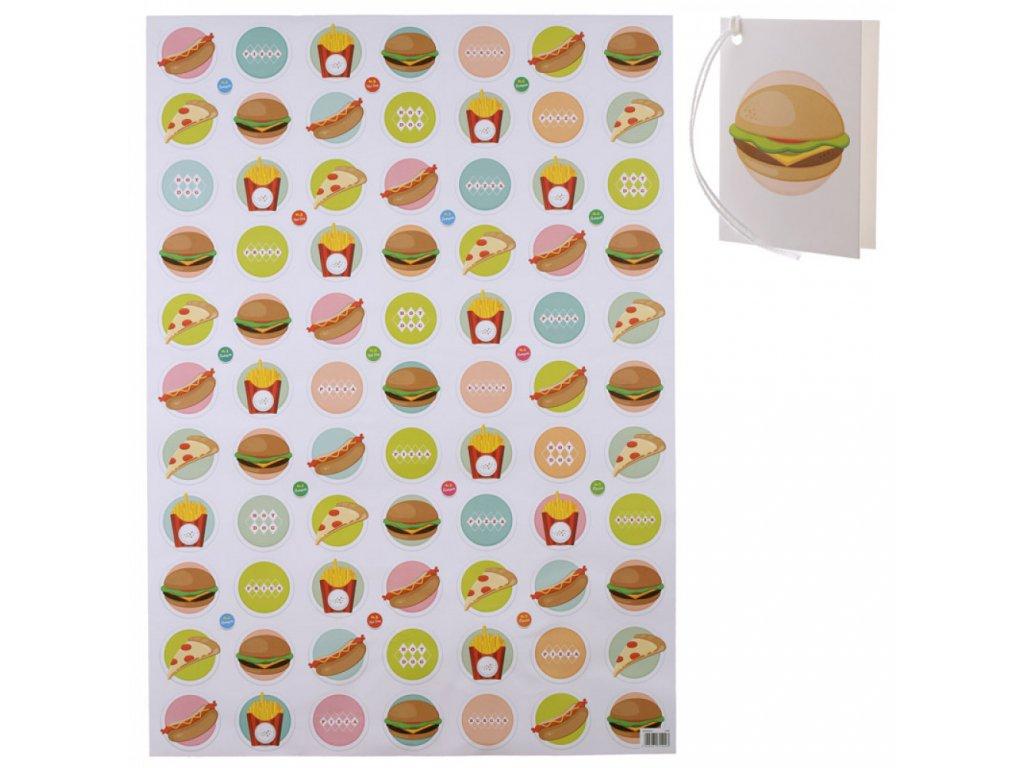 Originální balicí papír Fast Food 50x70 cm + visačka