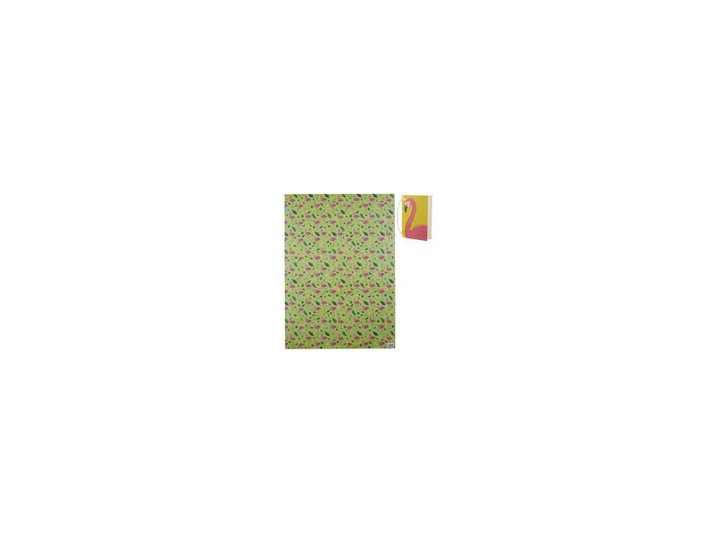 Originální balicí papír Tropical Flamingo 50x70 cm + visačka