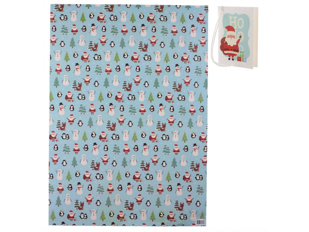 Vánoční balicí papír 50x70 cm + visačka