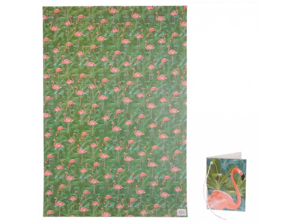 Balicí papír Flamingo 50x70 cm + visačka