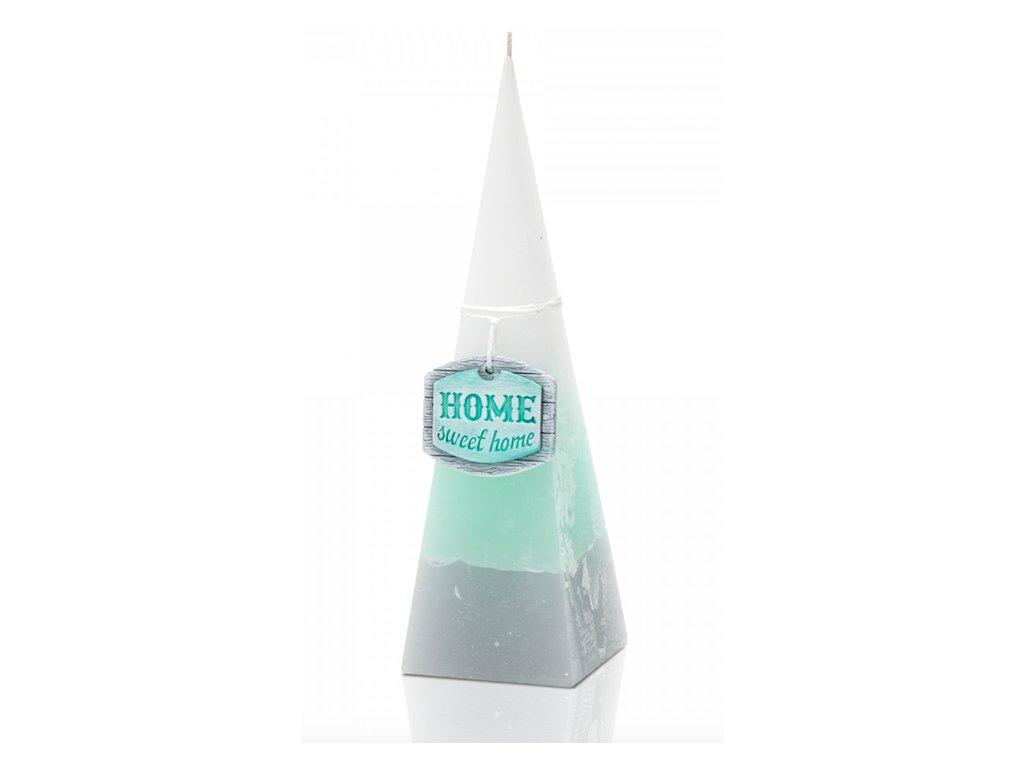 Vonná svíčka jehlan Home sweet home, dvě barvy